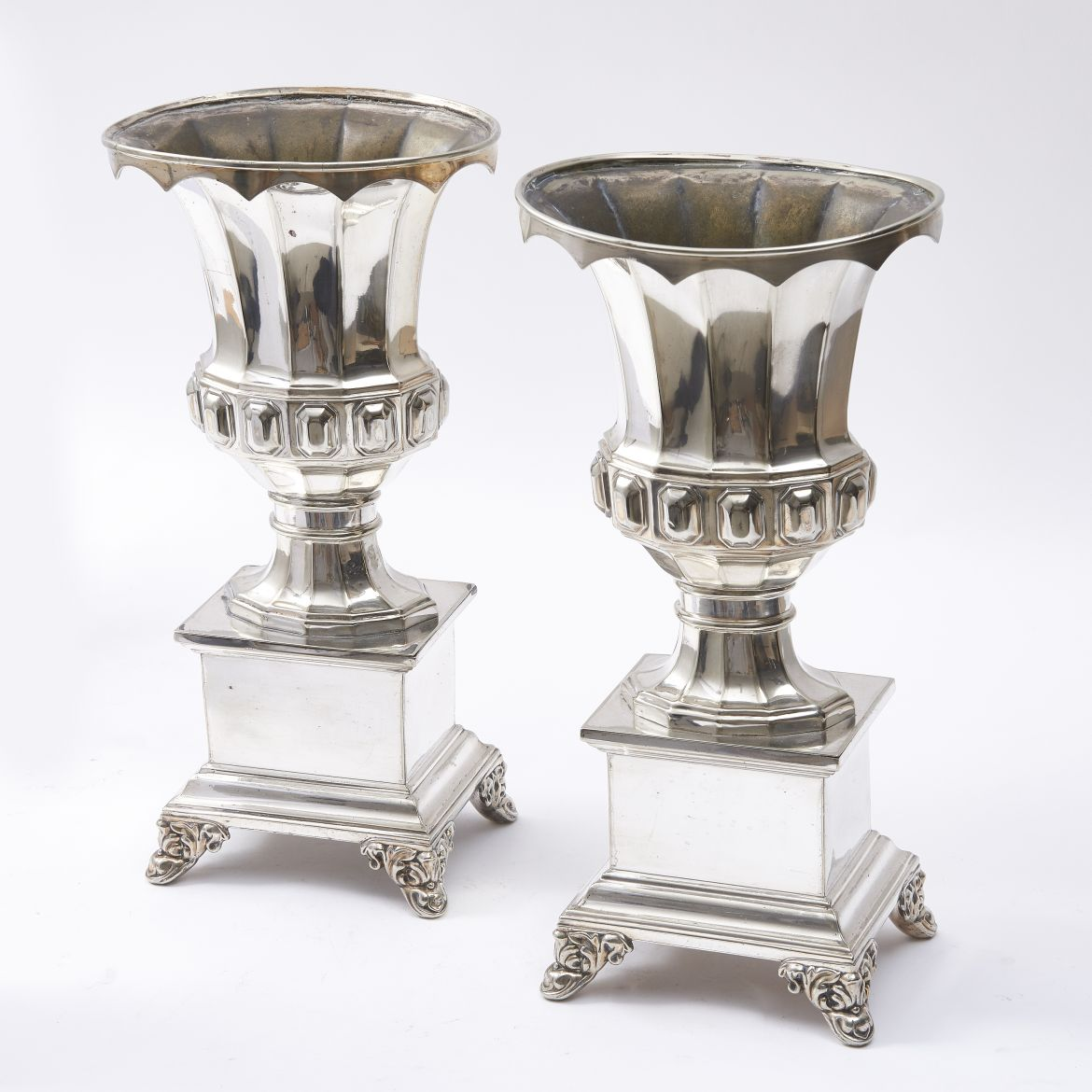 French Louis Philippe Silver Plate Urns