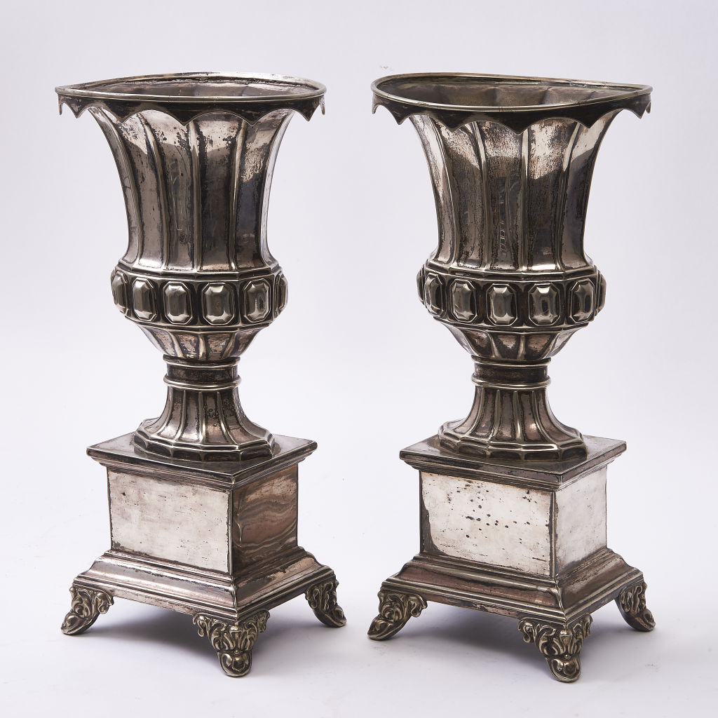 Pair Silver Plate Urns