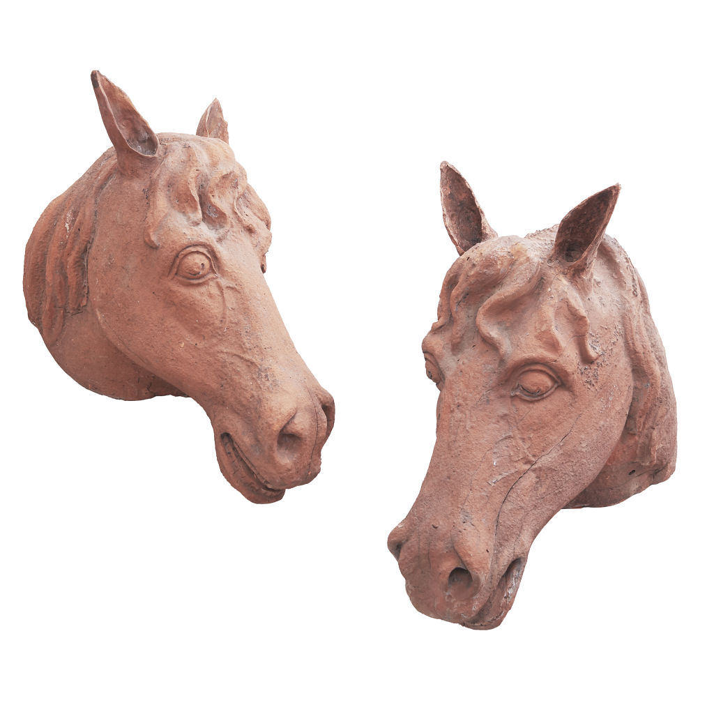 Pair Terracotta Horses Heads