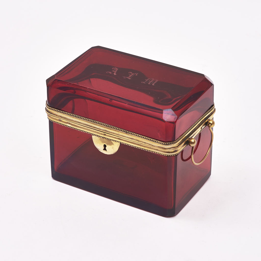 Initialed Red Glass Casket