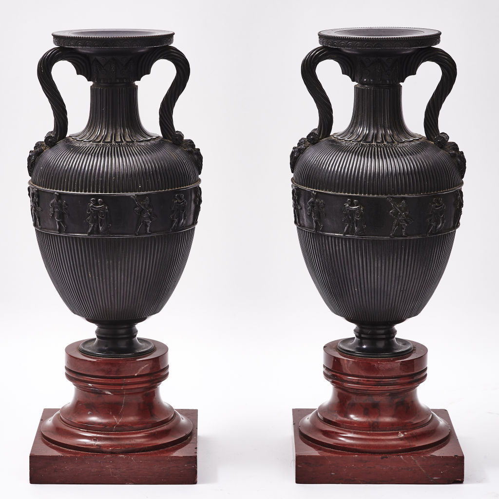French Bronze Amphora Shaped Urns