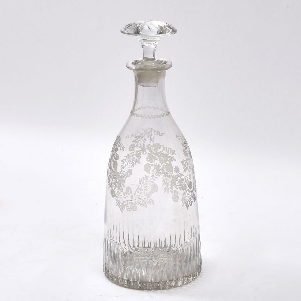 French Floral Etched Magnum Decanter
