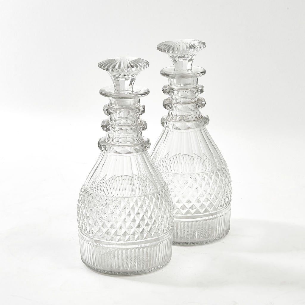 Pair Regency Cut Crystal Decanters