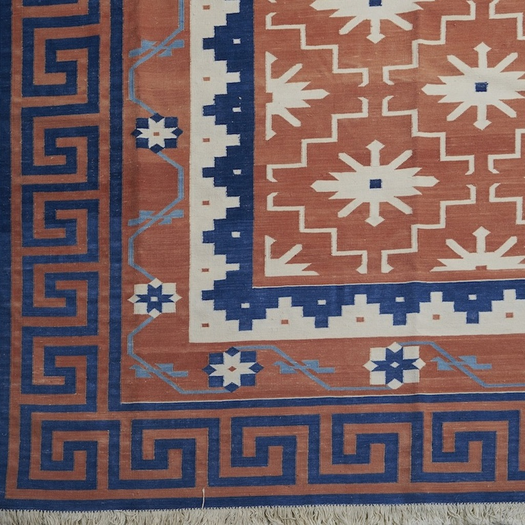 Orange Dhurrie with Blue Greek Frieze