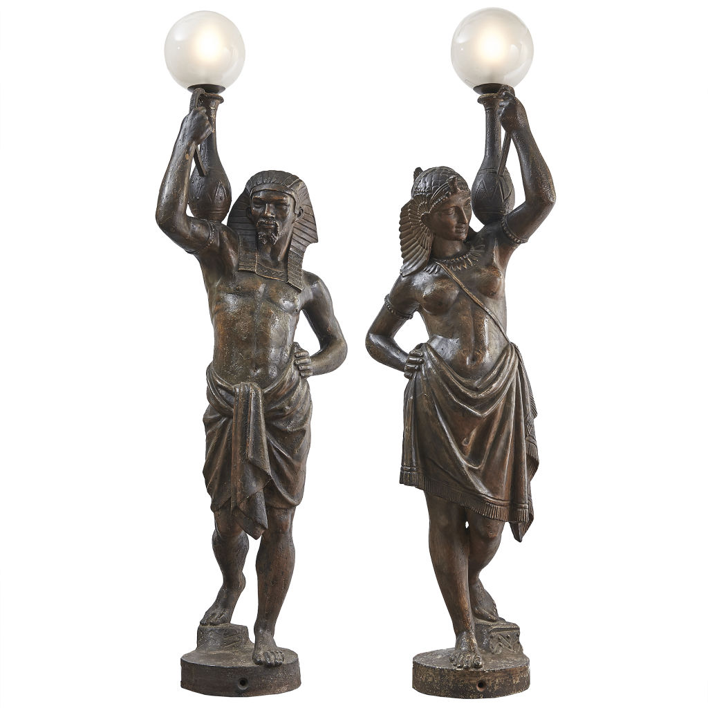 Pair Egyptian Torch Bearers
