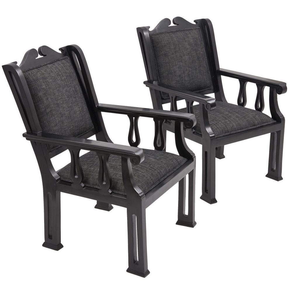 Pair Indian Ebony Deco Chairs