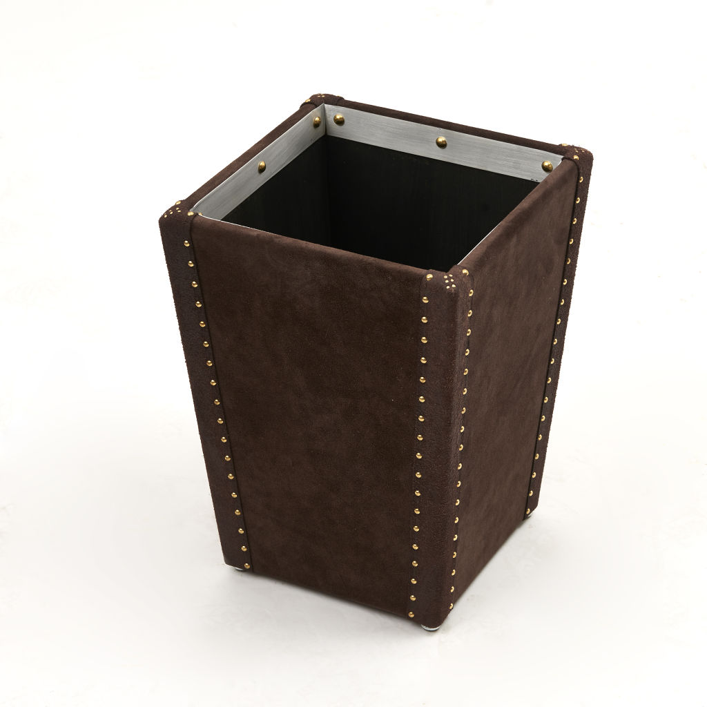 Chocolate Suede Waste Paper Basket