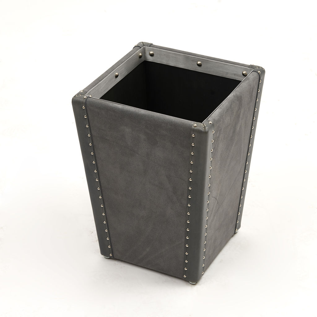 Grey Suede Waste Paper Basket