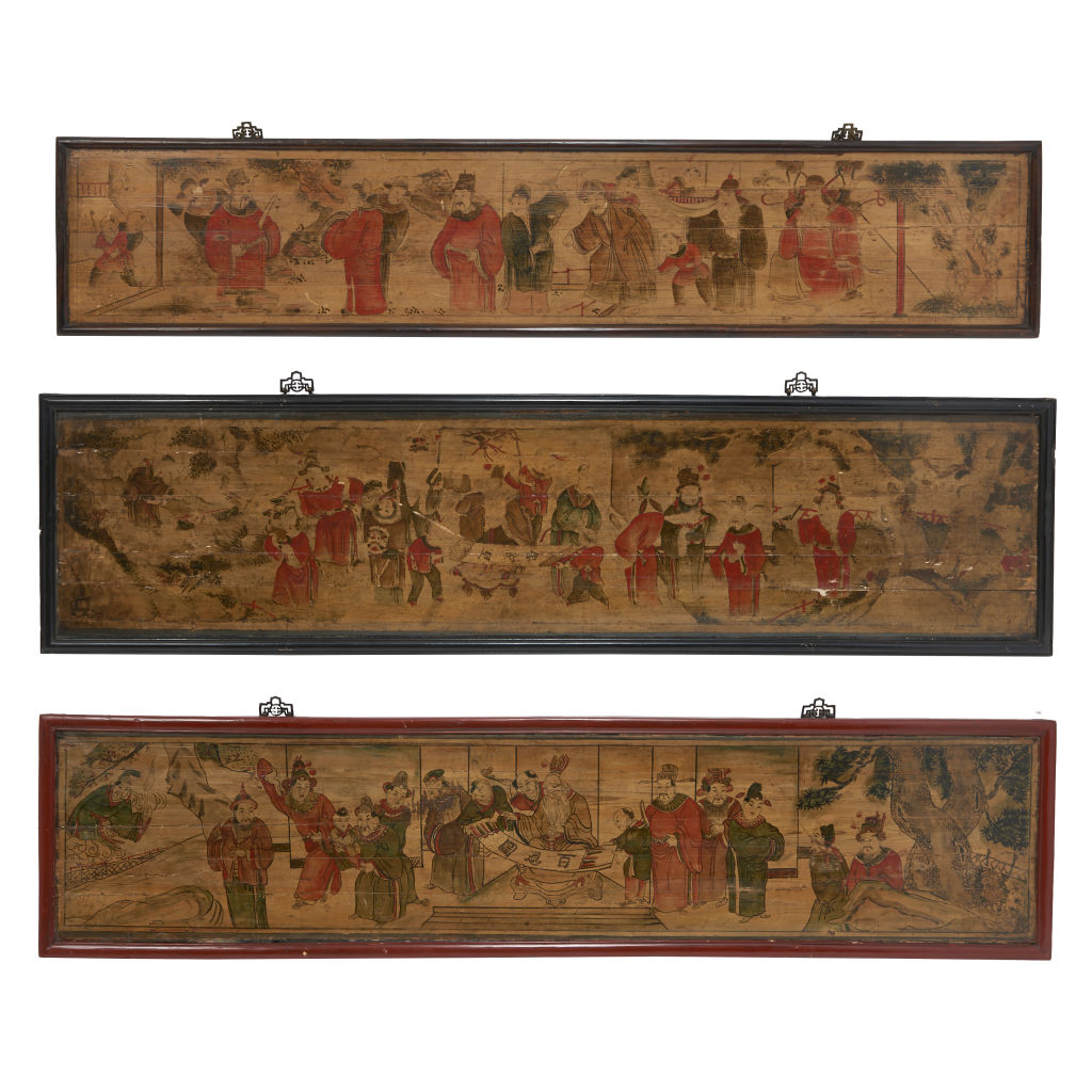 Three Japanese Painted Panels