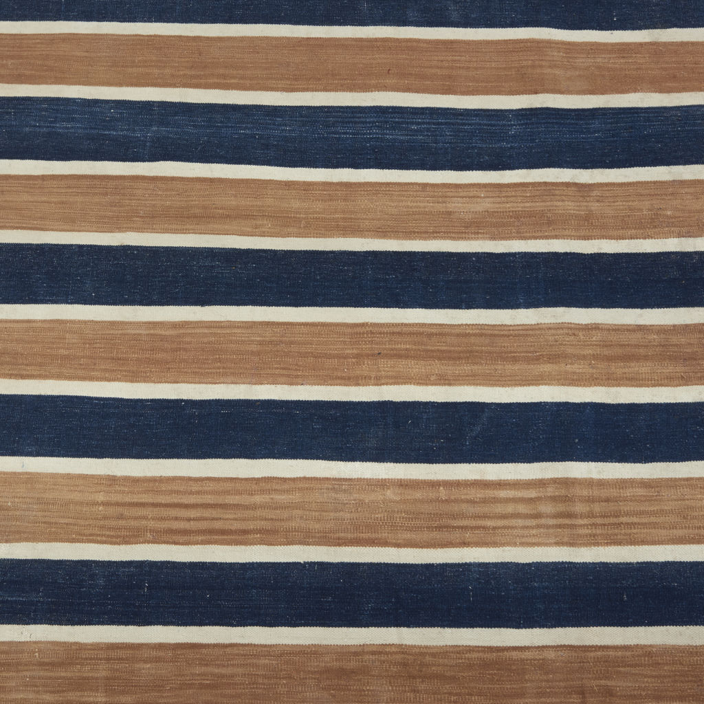 Caramel and Indigo Stripe Dhurrie