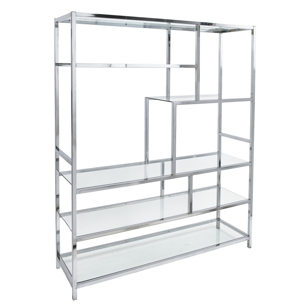 Guinevere Antiques | Glass and Chrome Shelves