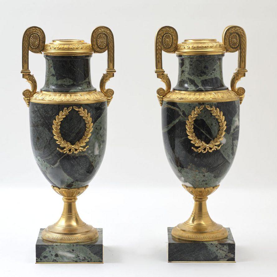 Pair French Verde Antico Urns