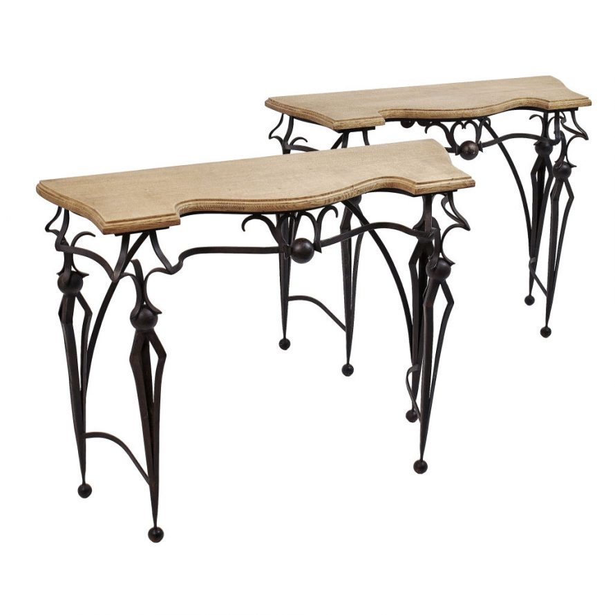 Pair French Oak and Iron Consoles