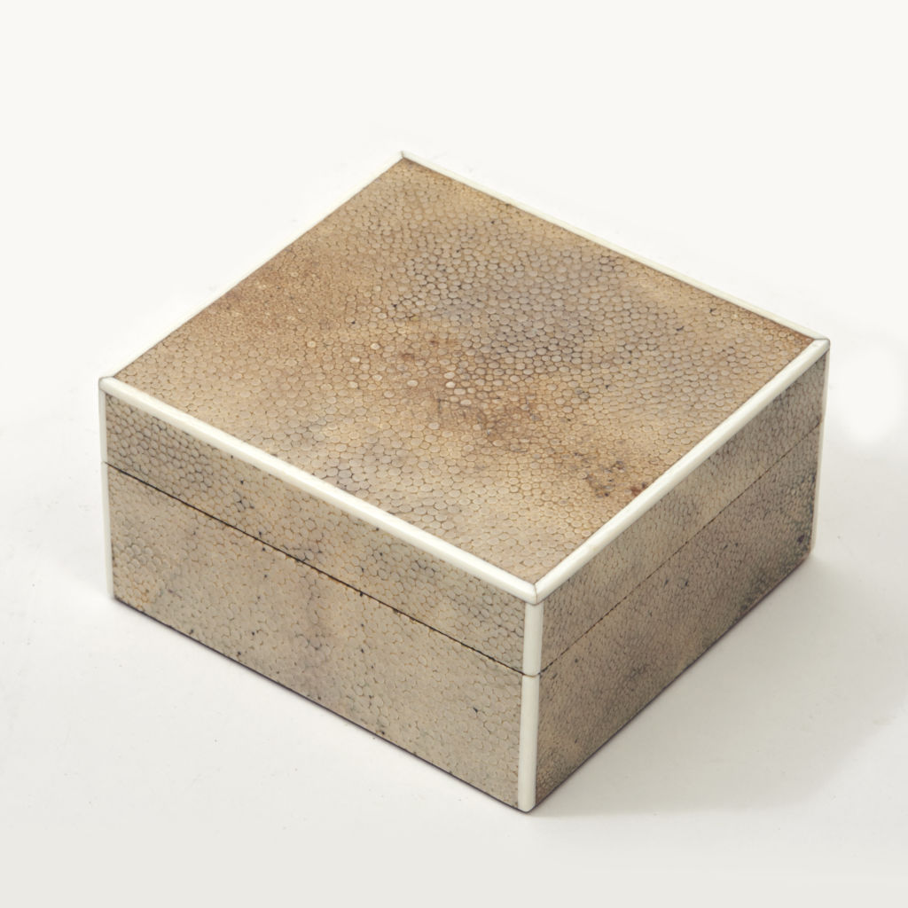Beige Shagreen Square Box