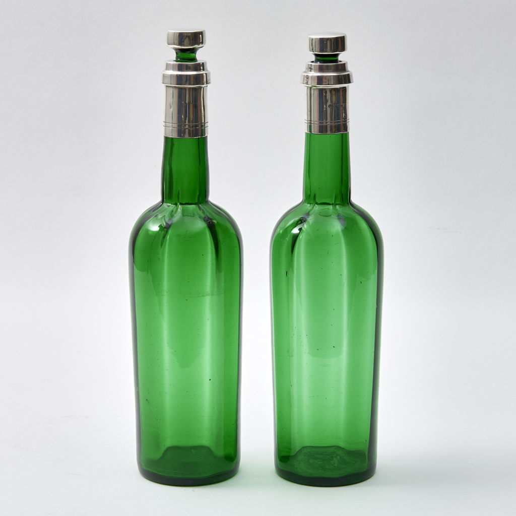 Pair Green Glass and Silver Bottles