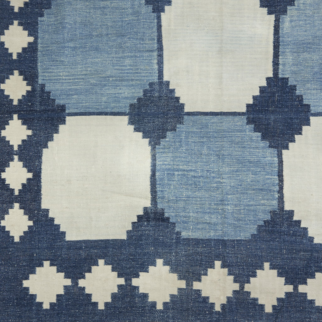 Blue & White Tile Dhurrie