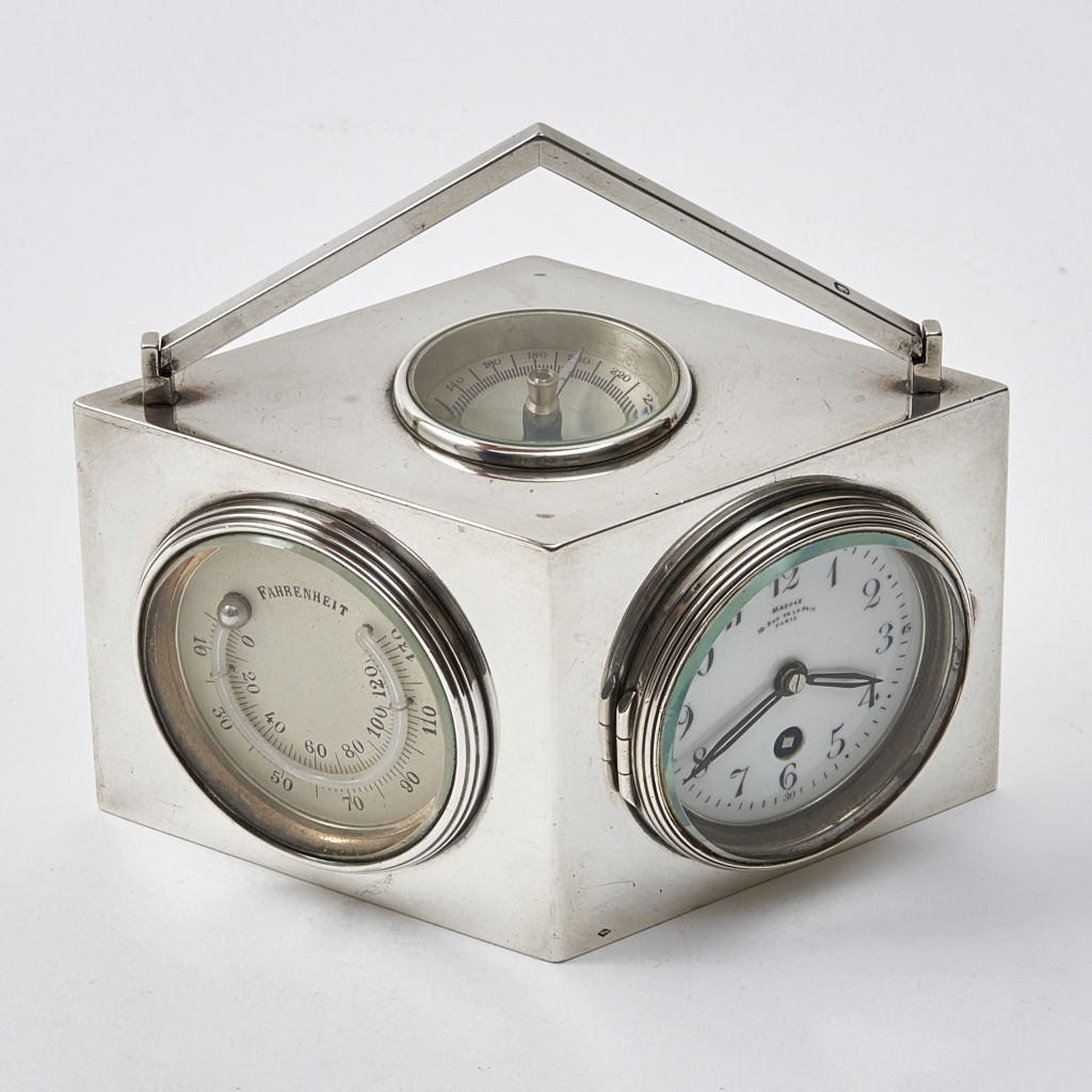French Silver Clock and Barometer