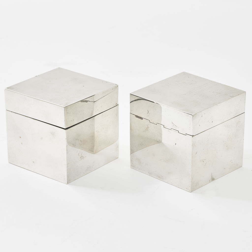 Pair Silver Smoking Cubes