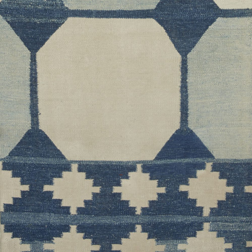 Large Blue and White Tile Dhurrie