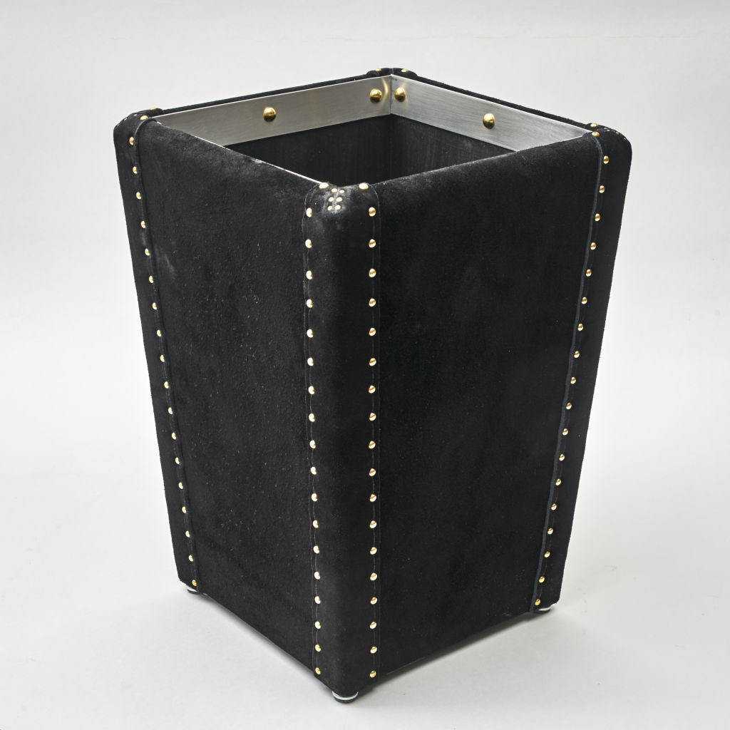 Black Suede Waste Paper Basket