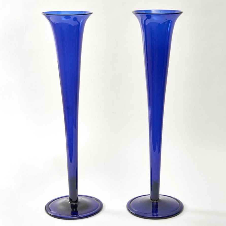 Victorian Blue Lily Vases