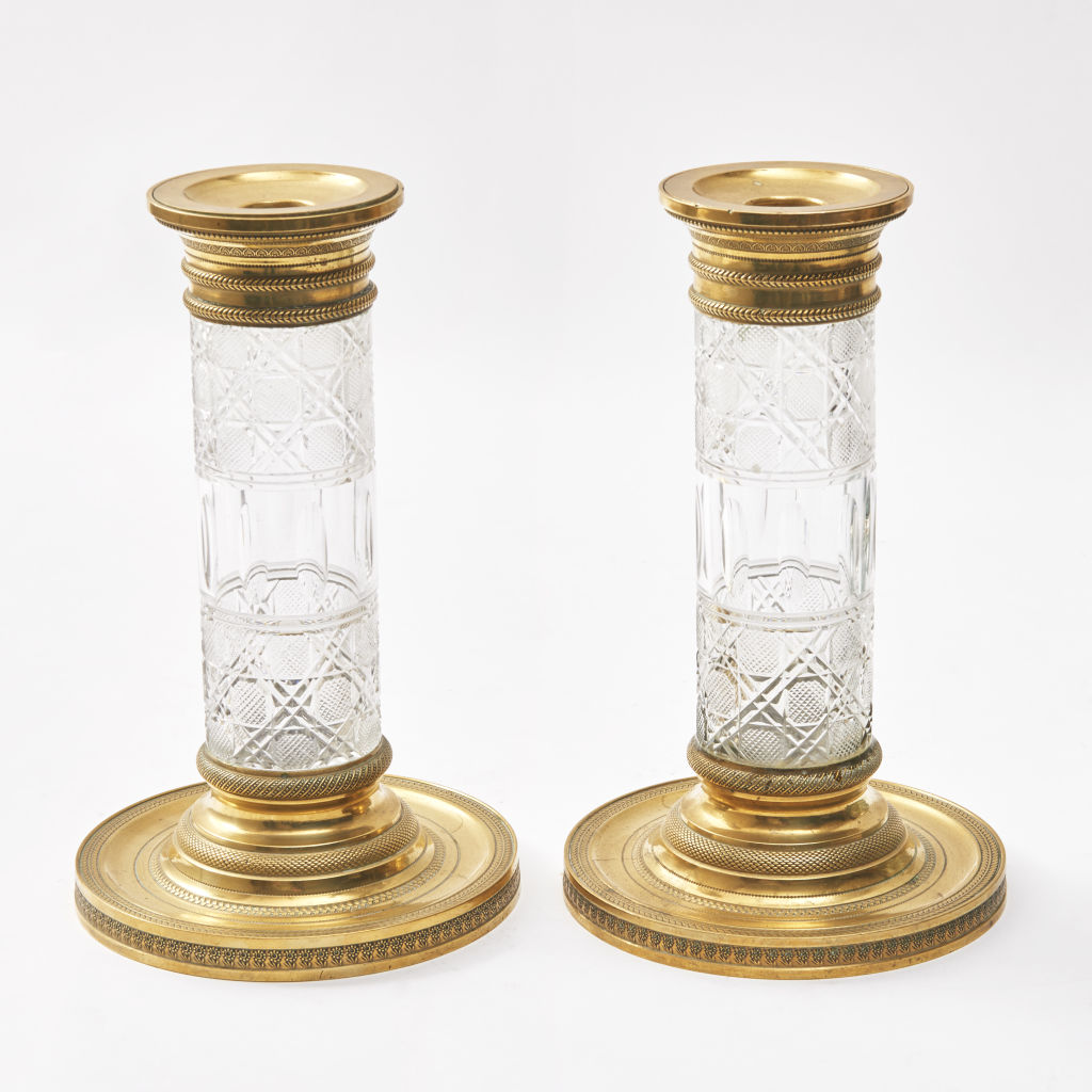 Pair Crystal Bud Vases