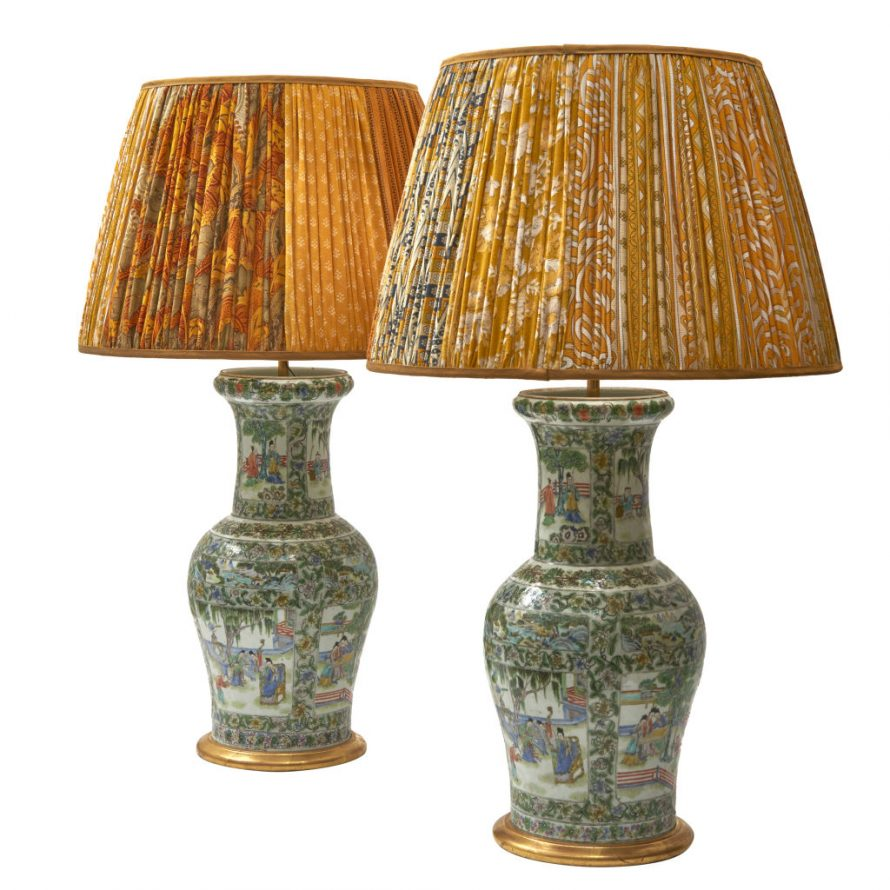 Chinese Famille Vert Lamps