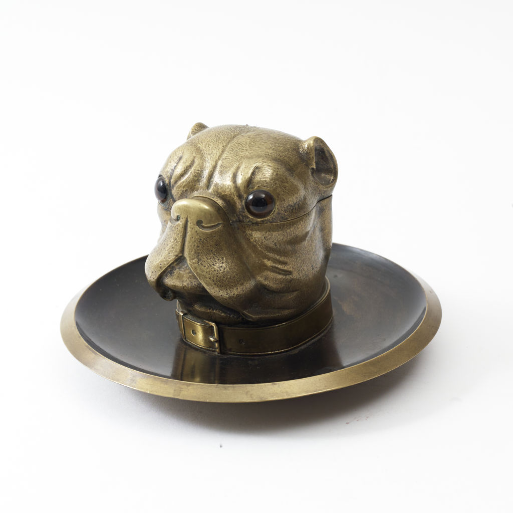 Victorian Bronze Pug Inkwell
