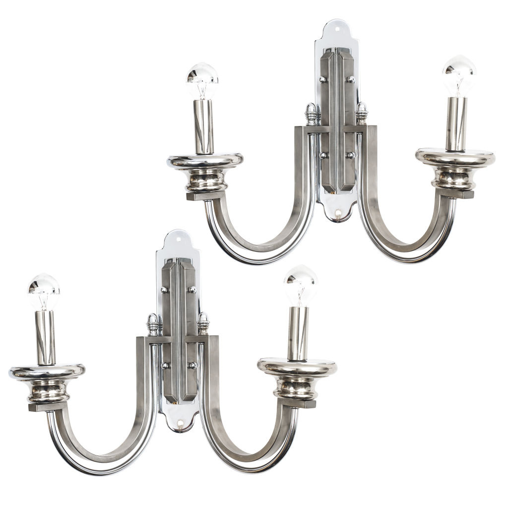 Chrome Art Deco Revival Sconces