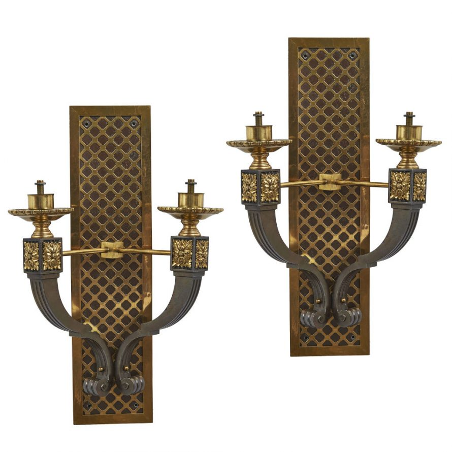 Pair Bronze Crosshatch Sconces