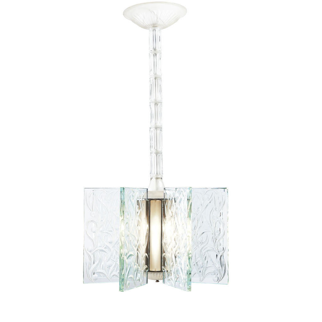 French Art Deco Engraved Chandelier