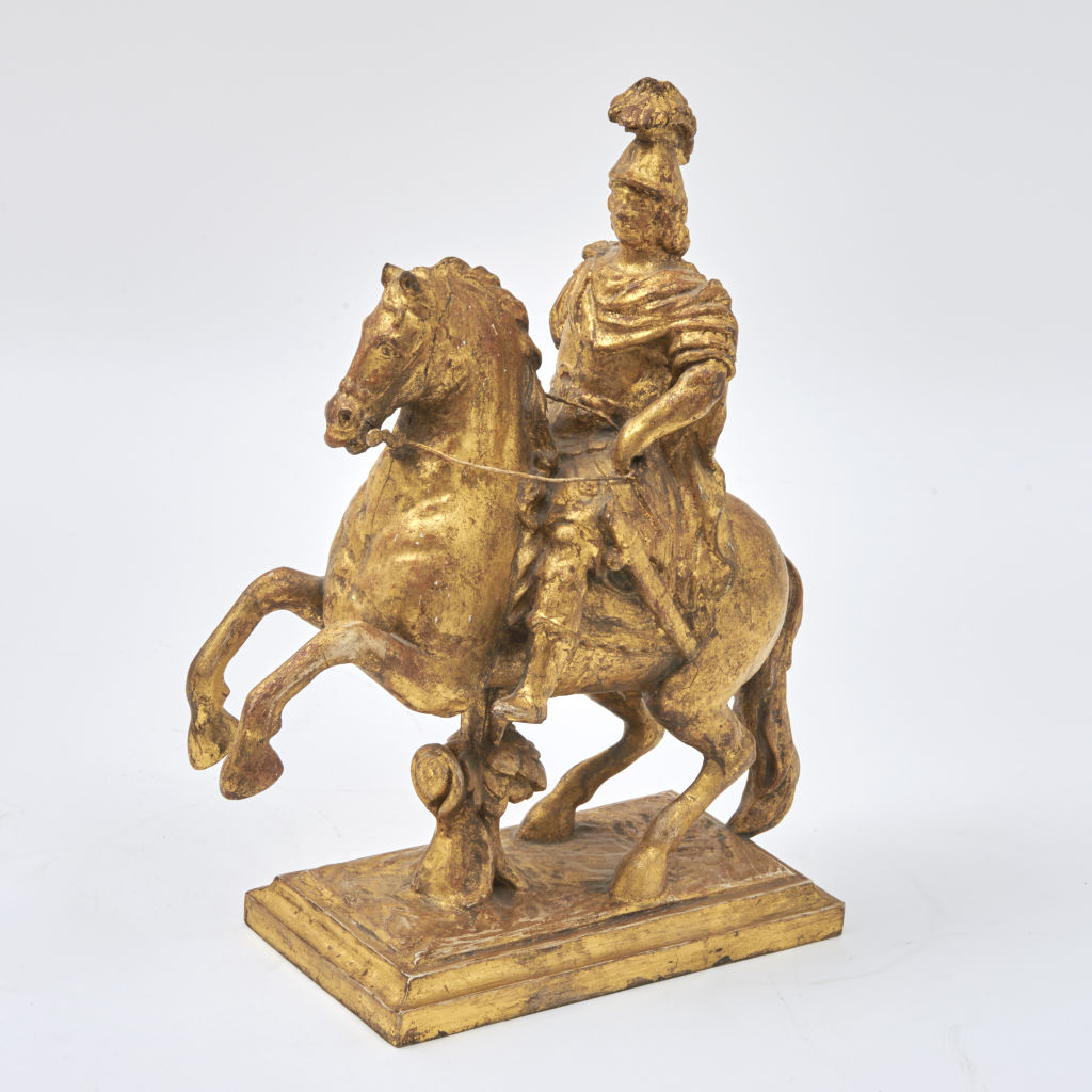 Carved Giltwood Horse & Rider