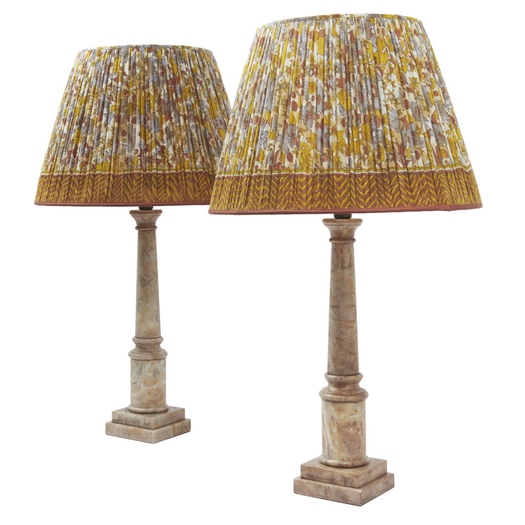 Pair Alabaster Column Lamps