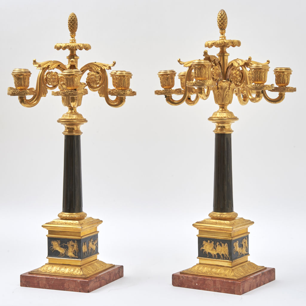 Pair Ormolu & Patinated Bronze Candelabra
