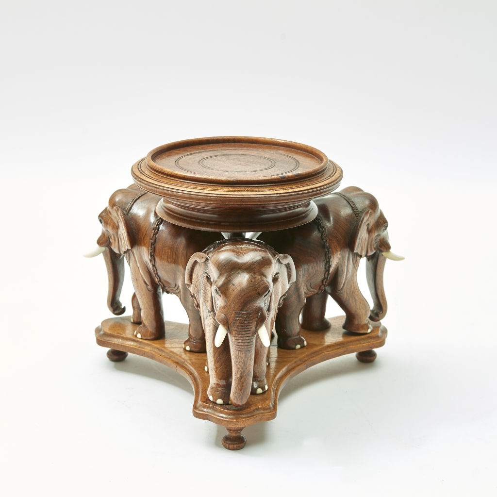 Ceylanese Carved Elephant Stand