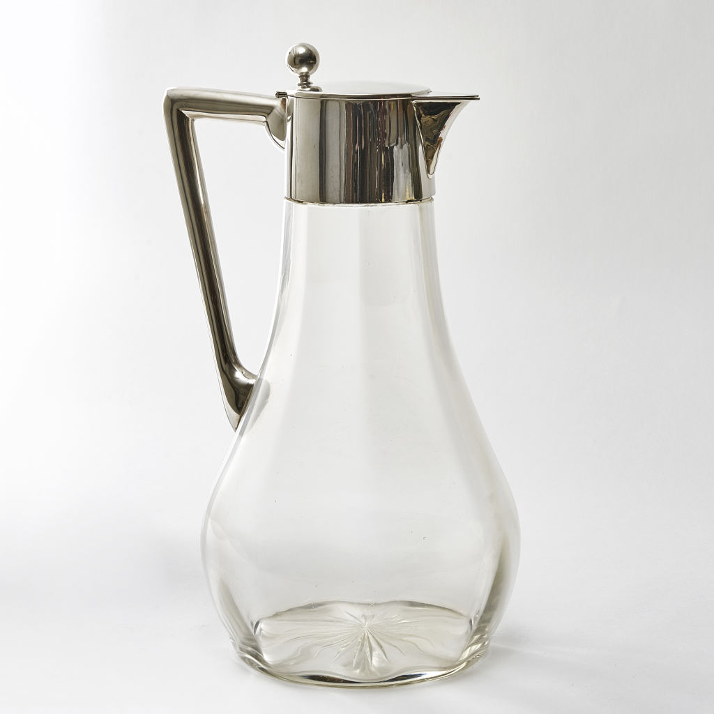 German Silver and Glass Jug