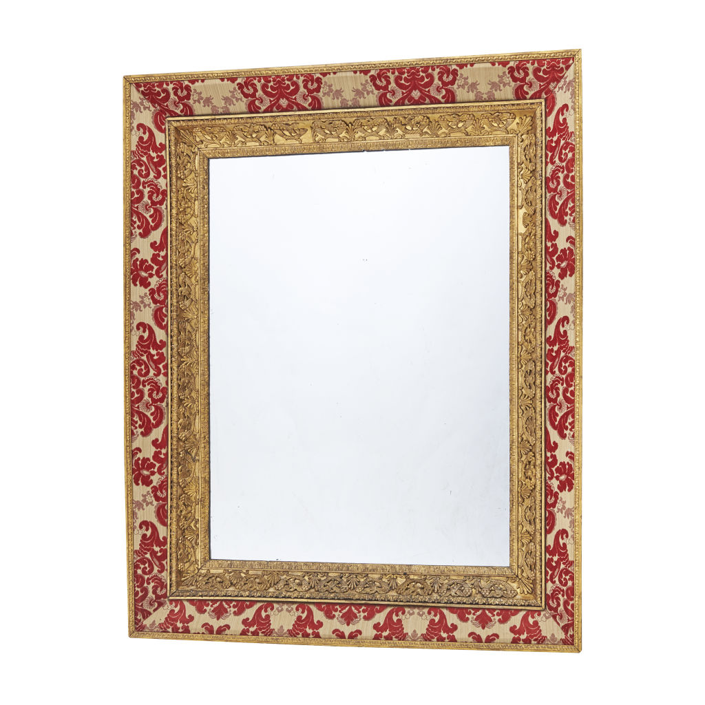 French Giltwood and Velvet Mirror