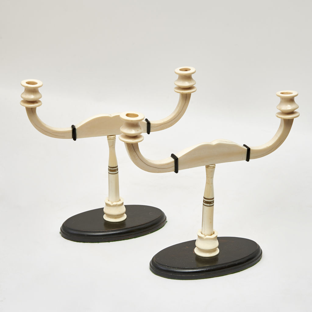 Pair Anglo Indian Ivory Candelabra