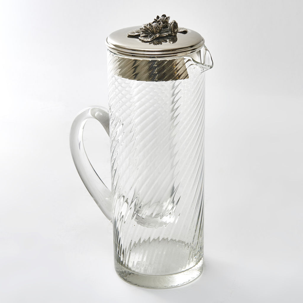 French Reeded Glass Lemonade Jug