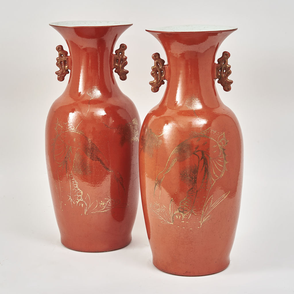 Pair Chinese Orange Glaze Porcelain Vases