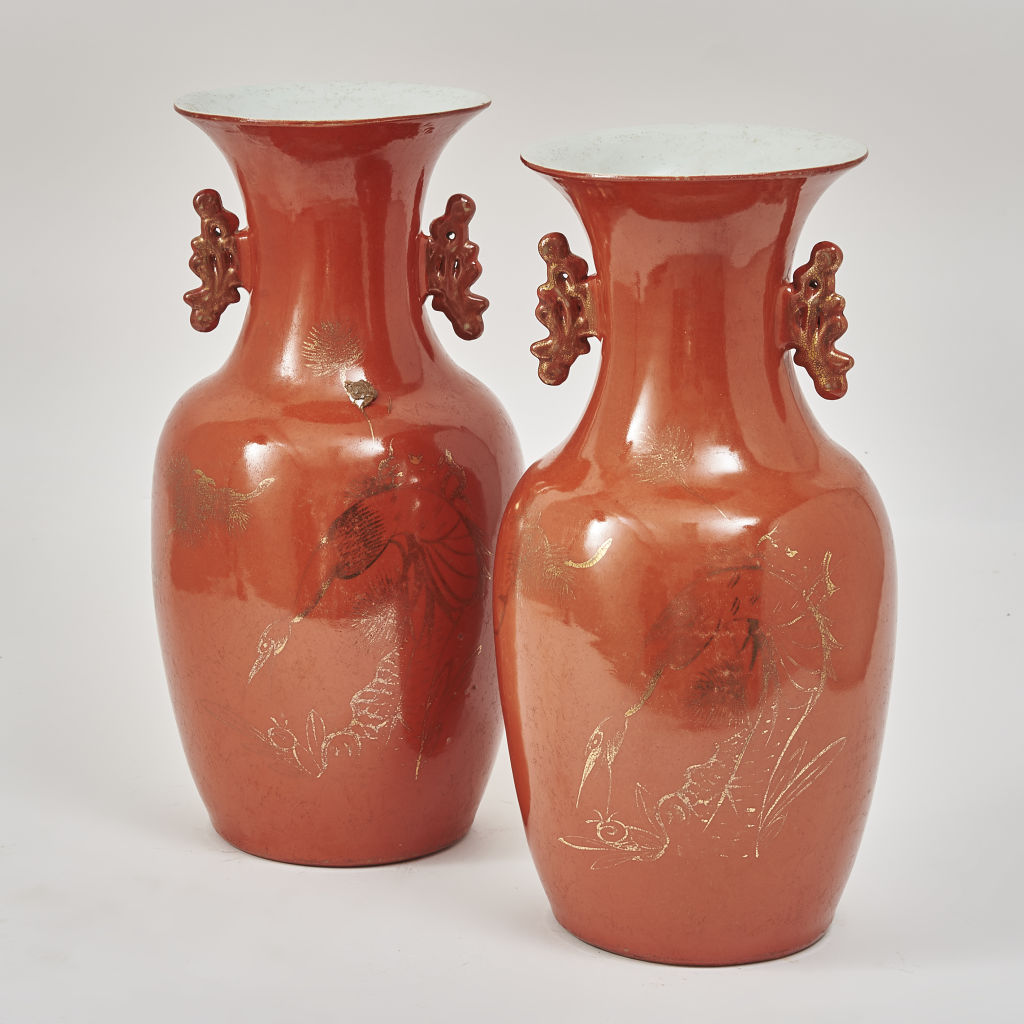 Pair Orange Glaze Porcelain Vases