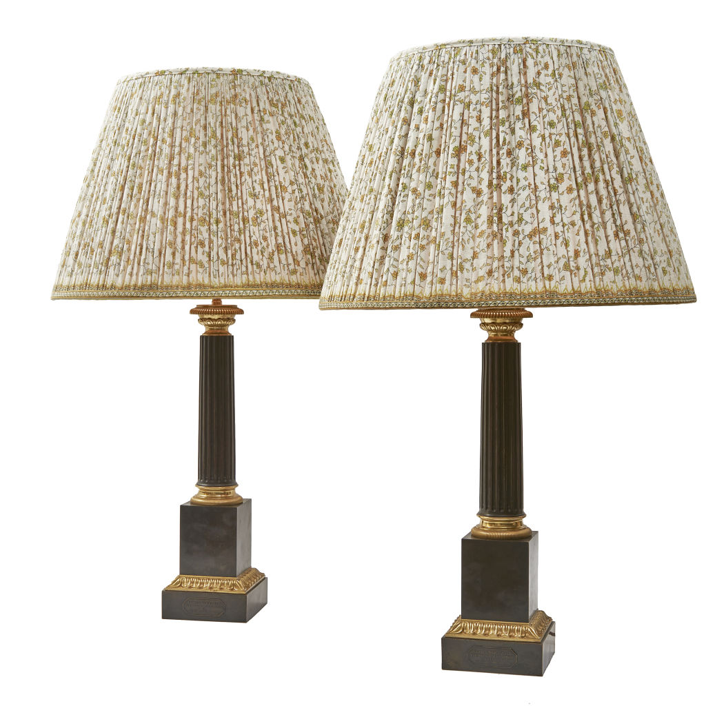 Bronze Fluted Column Lamps