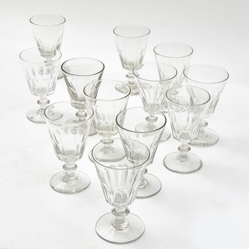 Twelve French Crystal Wine Glasses