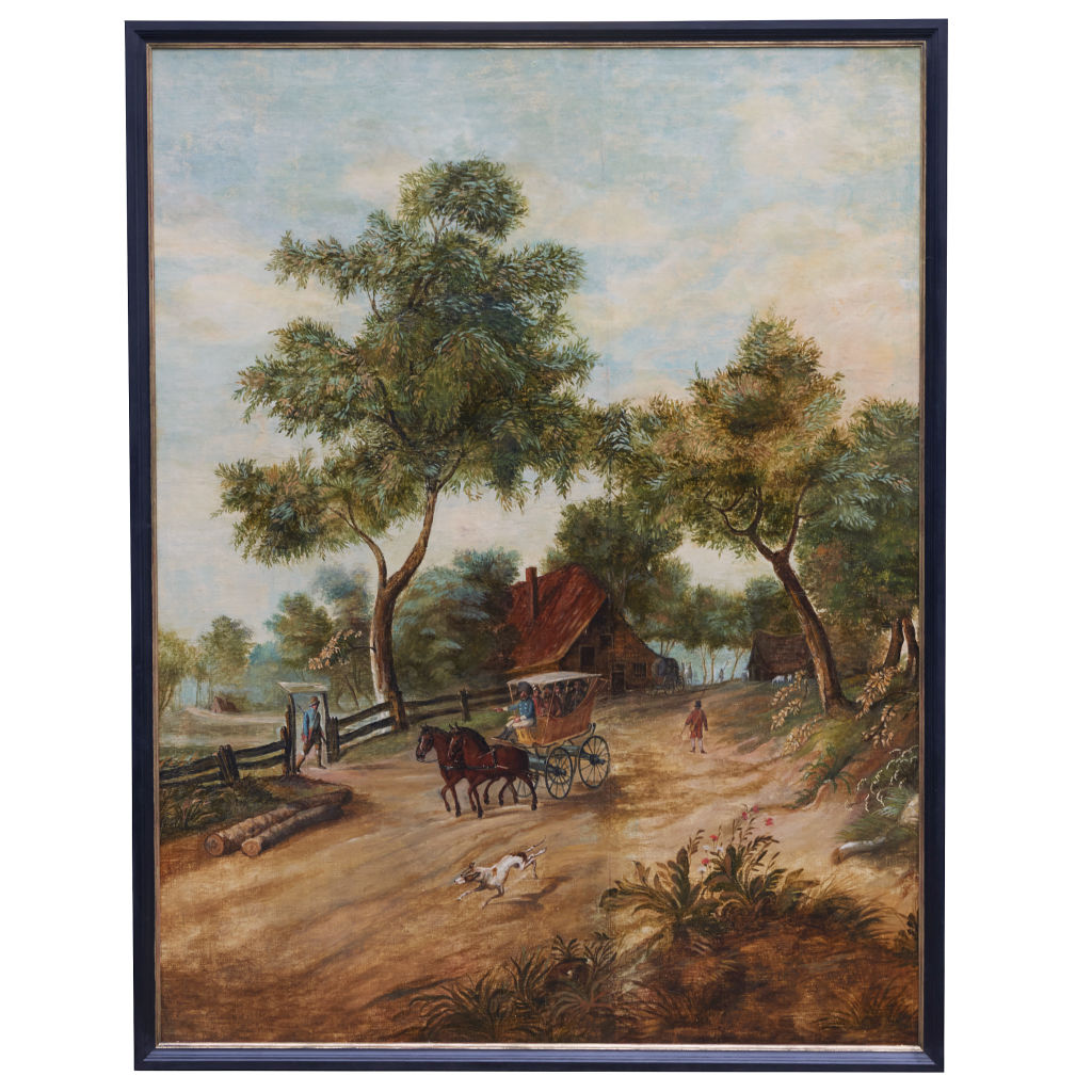 Large Oil on Canvas Painting of Rural Scene