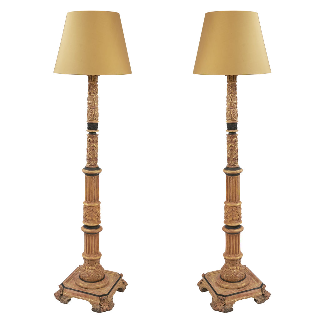 Pair of Gilded Column Lamps