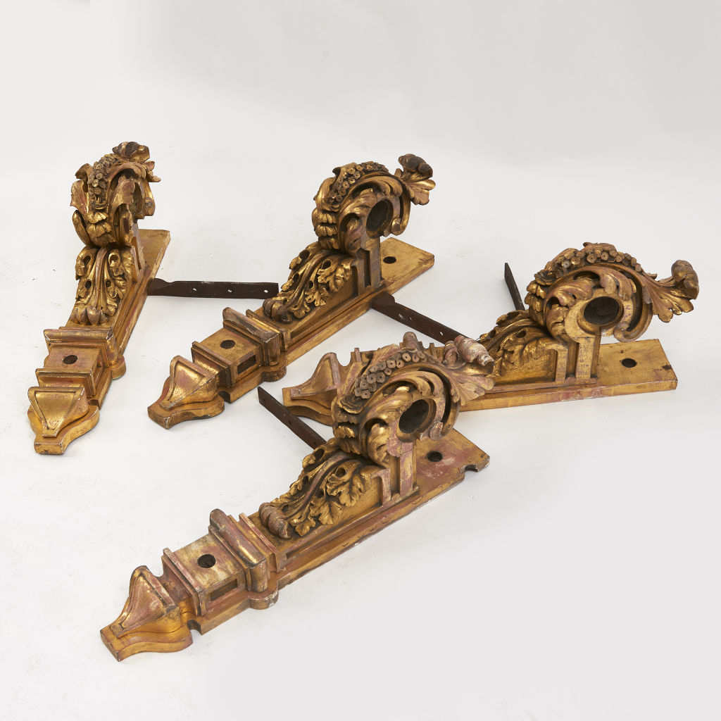 Regency Giltwood Curtain Pole Brackets