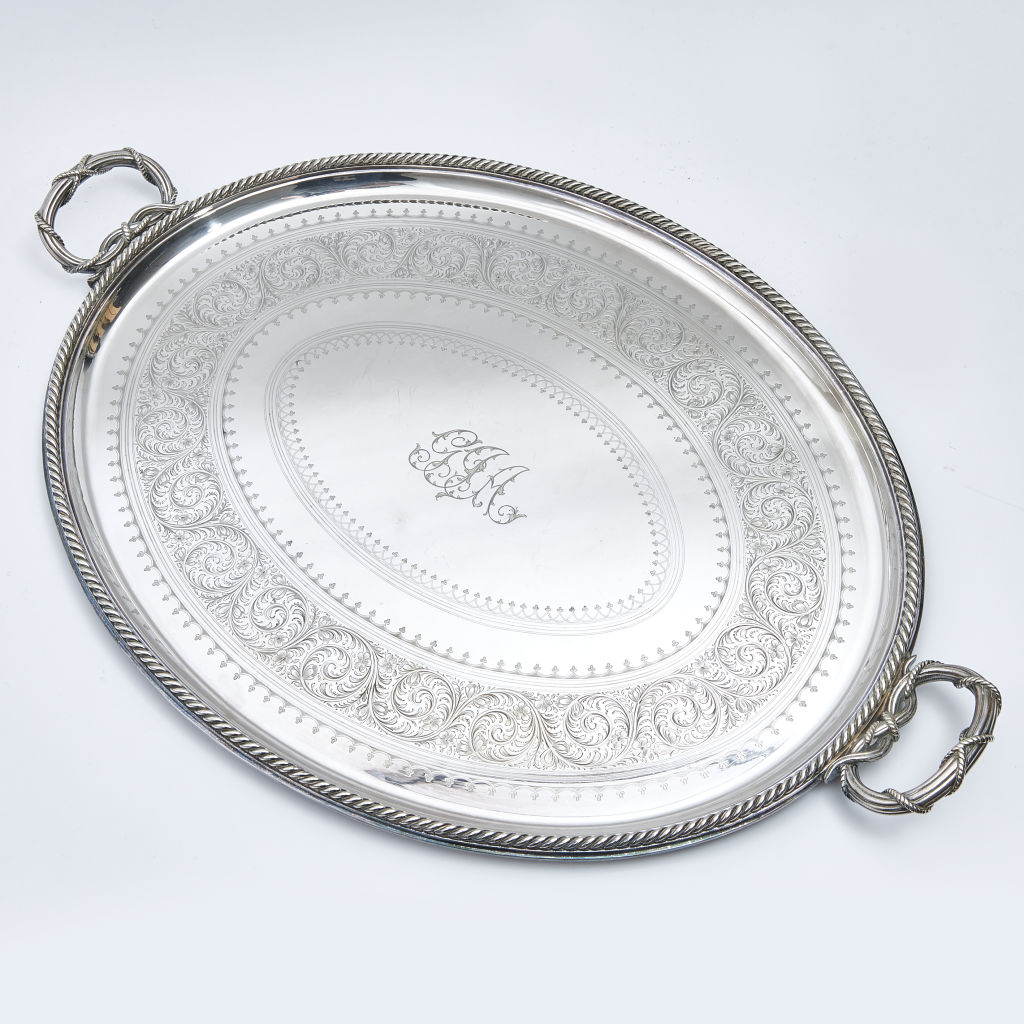 Initialled Silver Plate Tray