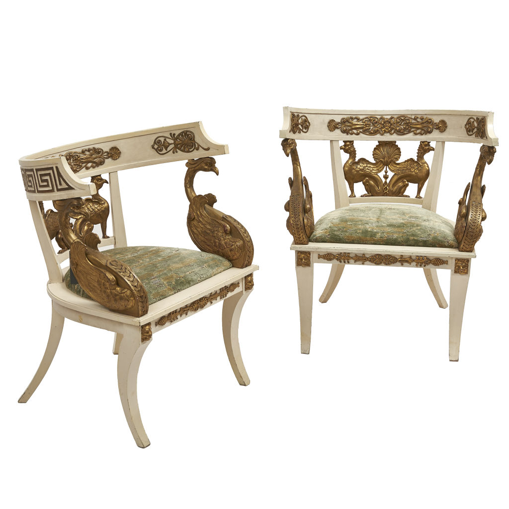 Pair Italian Painted Chairs