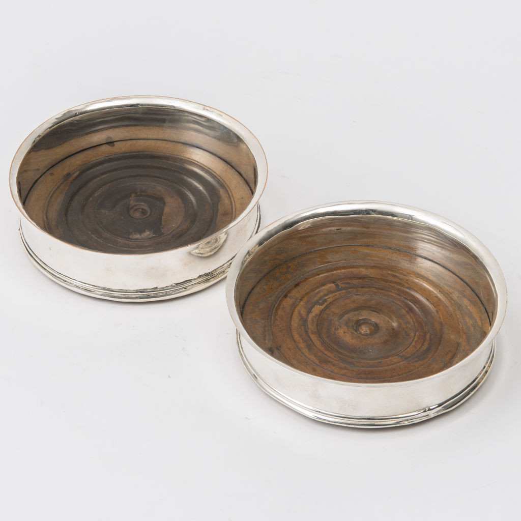 Pair Sheffield Plate Coasters