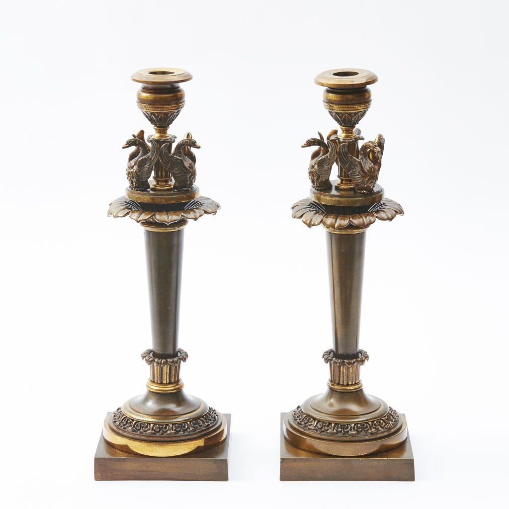 English Regency Bronze Candlesticks